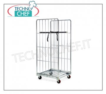 Technochef - Roll CONTAINER TROLLEY mit LOW FLOOR und 2 HIGH SPONDE, Art. 1812 Rollcontainer Rollcontainerwagen mit Rohrgestell und kaltverzinktem Stahldraht, Tragkraft 600kg, Maße 720x810x1800h mm